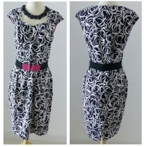Maggy London Black and White Cocktail Dress Sz 10